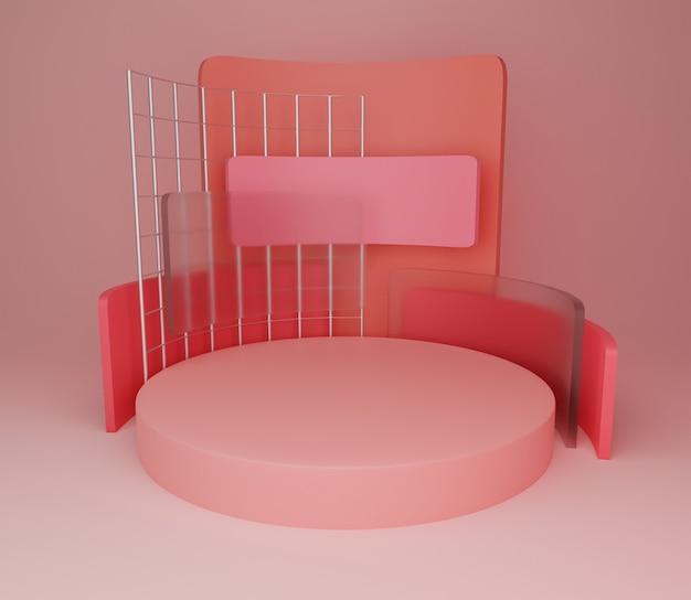 3d achtergrond illustratie eenvoudig modern roze stadium abstract
