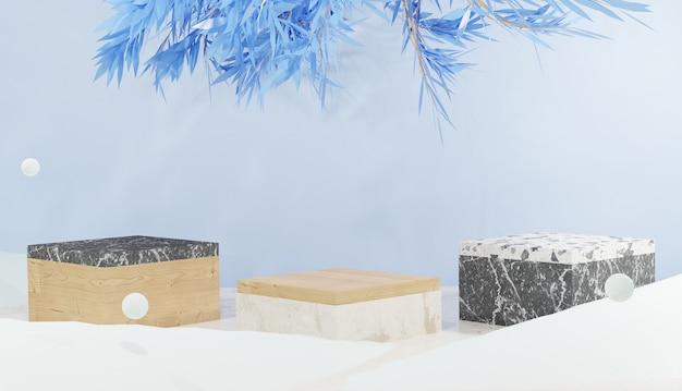 3d-achtergrond met 3 marmeren podium en bladeren omgeven door sneeuwwinterthema