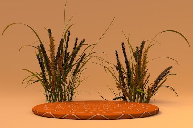 3d achtergrond oranje voetstuk podium droge plant herfst stijl cosmetische productpromotie