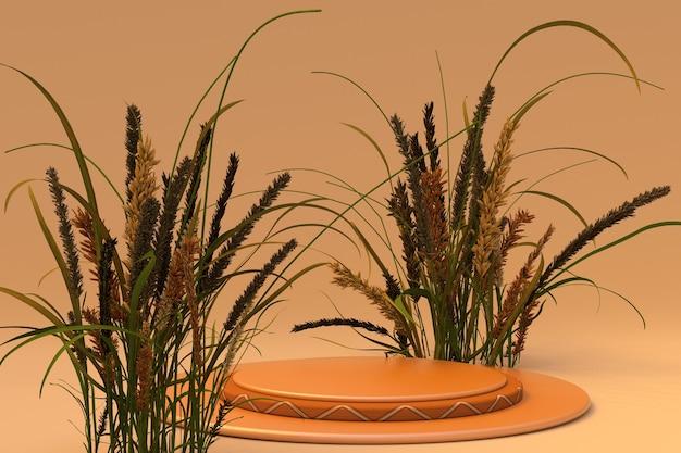 3d achtergrond oranje voetstuk podium natuur droge plant herfst stijl schoonheid ronde voetstuk display