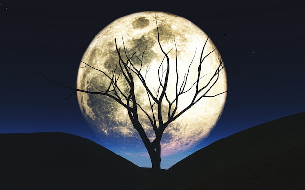 3d achtergrond van halloween met boom die tegen de maan wordt gesilhouetteerd