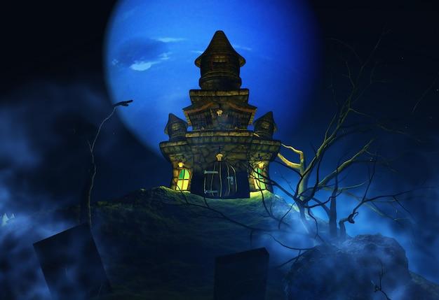 3d achtergrond van halloween met griezelig kasteel