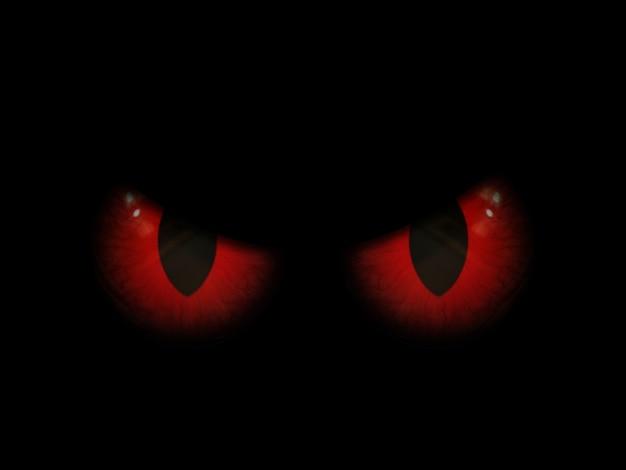 3d achtergrond van halloween met rode kwade ogen