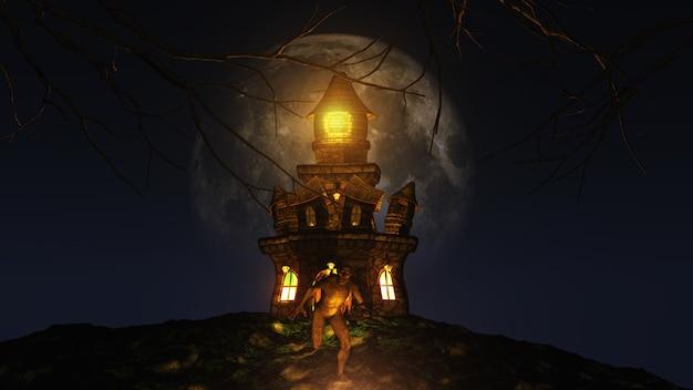3d achtergrond van halloween met schepsel dat van griezelig kasteel loopt