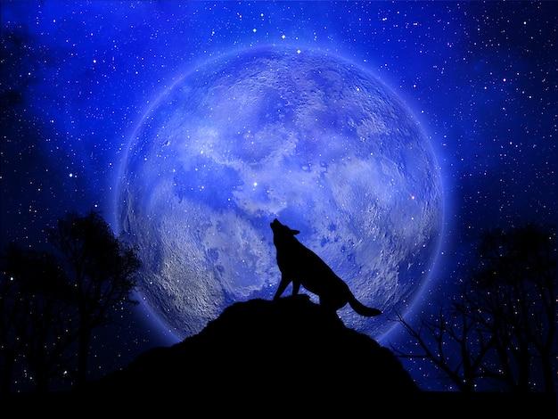 3d achtergrond van halloween met wolf die tegen de maan huilt
