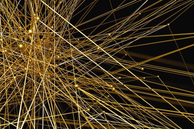 3d achtergrond van het illustratie abstracte gouden netwerk