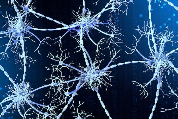 3d achtergrond van neurale netwerken