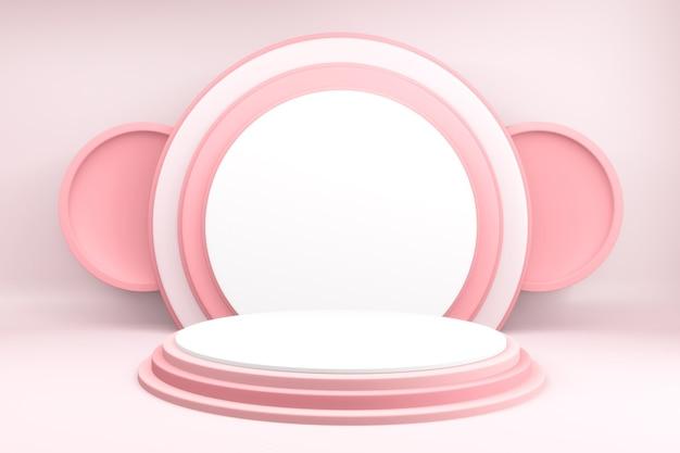 3d achtergrondproducten valentijnspodium in liefdeplatform, valentine roze podium minimaal ontwerp