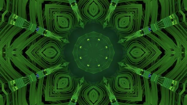 3d-afbeelding abstracte geometrische achtergrond van groene tunnel met bloemvormig gat en symmetrisch caleidoscopisch ontwerp met reflecties