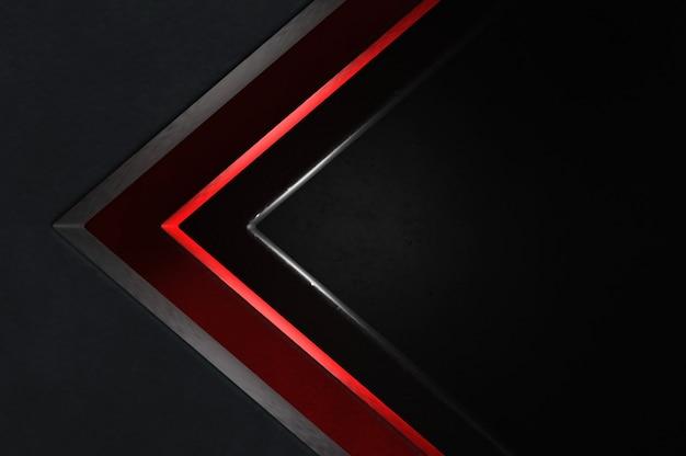 3d-afbeelding. abstracte zilveren, rode en zwarte pijlrichting op zwarte lege ruimte voor tekstembleem, het futuristische oppervlak van de concepten moderne luxe en brochureontwerp