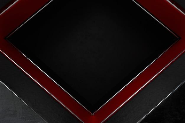 3d-afbeelding. abstracte zilveren, rode en zwarte pijlrichting op zwarte lege ruimte voor tekstembleem