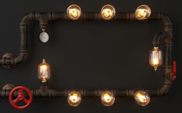 3d-afbeelding. achtergrond donkere muur loft steampunk lamp van pijpen.