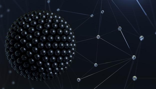 3d-afbeelding. banner abstractie super virus molecuul achtergrondstructuur. geneeskunde of natuurkunde. lichaamscel