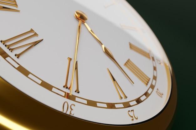 3d-afbeelding close-up van antieke gouden ronde klok op geïsoleerde zwarte achtergrond.