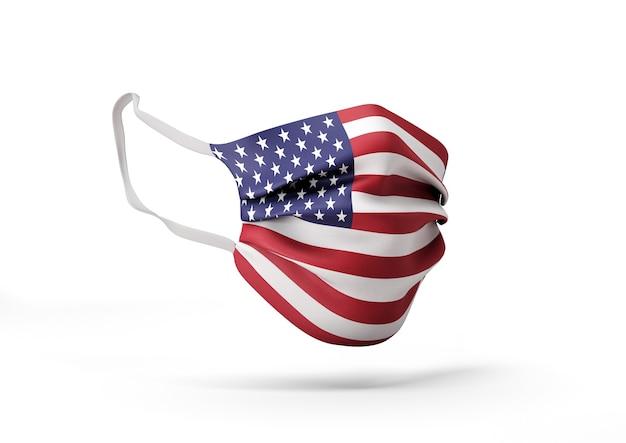 3d-afbeelding. coronavirus in de verenigde staten. afbeelding van chirurgisch masker met amerikaanse vlag.