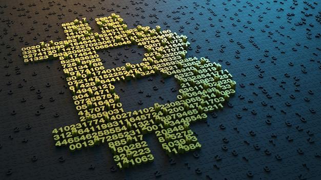 3d-afbeelding. digitaal valutasymbool. bitcoin