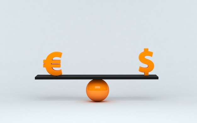 3d-afbeelding. euro en dollarsymbool op saldoschaal. concept gelijk evenwicht tussen dollar en euro. financieel concept.