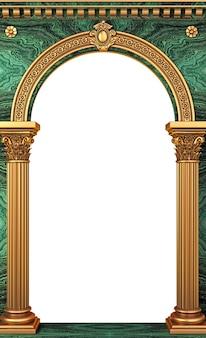 3d-afbeelding. gouden luxe marmeren klassieke boog met kolommen. het portaal in barokstijl. de ingang van het sprookjespaleis