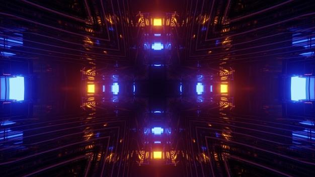 3d-afbeelding interieur van futuristische gebouw vierkante donkere gang met kleurrijke neonlampen weerspiegelen in spiegelglazen wanden