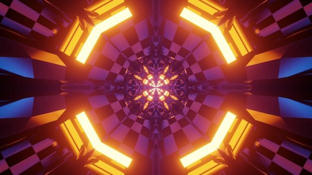 3d-afbeelding interieur van virtuele wereld tunnel met geometrische vormen en gespiegelde cellen als gevolg van felle neonverlichting voor abstracte futuristische achtergrond