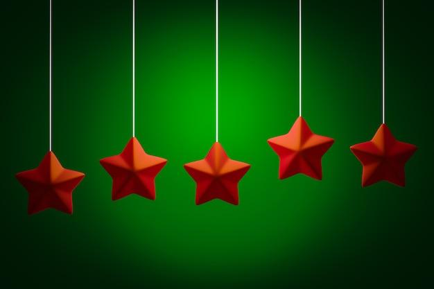 3d-afbeelding kerstversiering rode sterren op groen