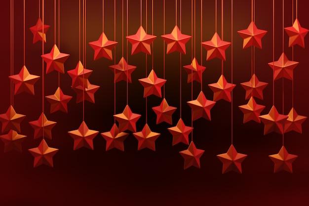 3d-afbeelding kerstversiering rode sterren rode achtergrond