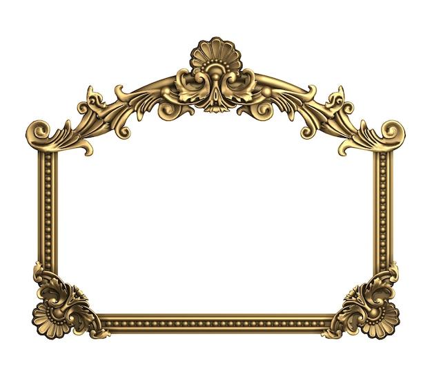 3d-afbeelding. klassieke gouden lijst in barokstijl. zwart marmer.