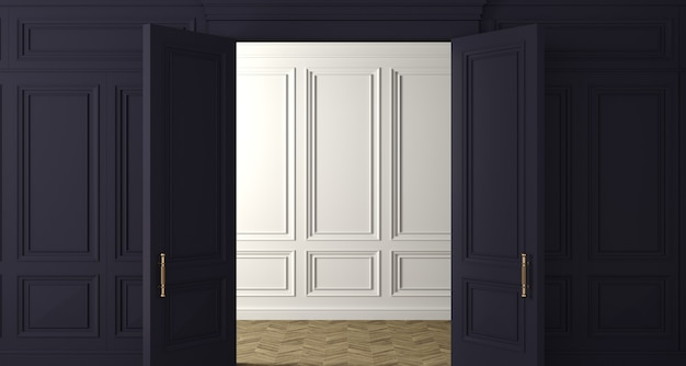 3d-afbeelding. klassieke muur van donkere houten panelen deur. schrijnwerk in het interieur. achtergrond.