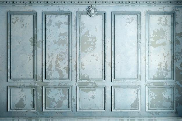 3d-afbeelding. klassieke muur van oude gipspleisterpanelen blauwe verf. schrijnwerk in het interieur. achtergrond.