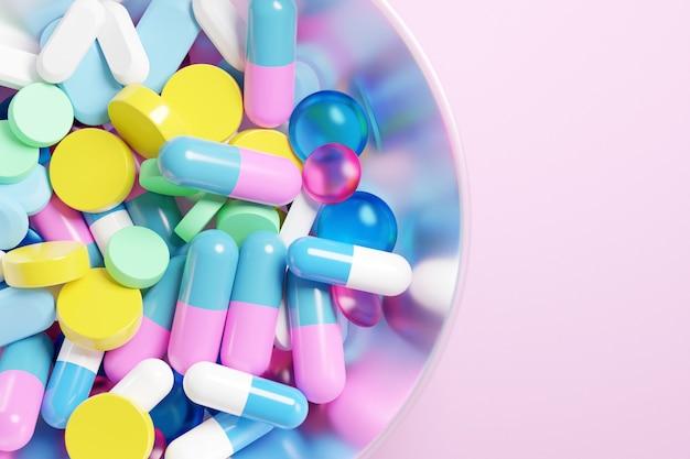 3d-afbeelding kleurrijke capsules pils met medicijnen in een grote glazen beker op roze achtergrond