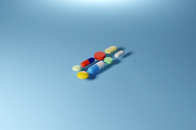 3d-afbeelding kleurrijke capsules pils met medicijnen zijn verspreid
