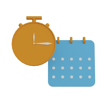 3d-afbeelding klok en kalender