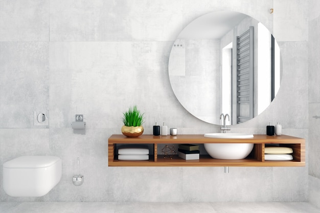 3d-afbeelding. moderne glazen doucheruimte in loftstijl.