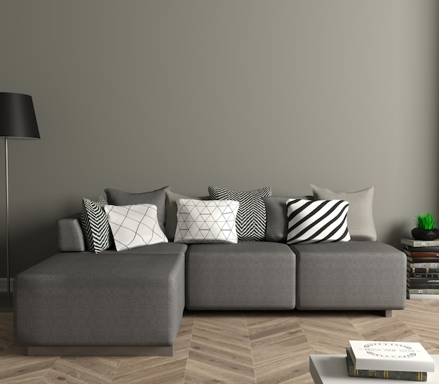 3d-afbeelding. moderne woonkamer met witte bank. wit leeg schilderij aan de muur. mock up poster.