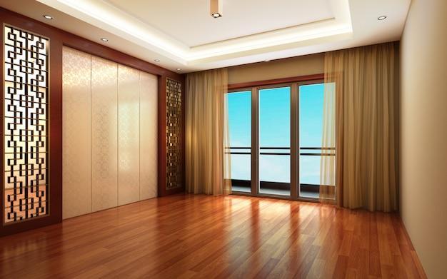 3d-afbeelding mooie lichte warme kamer