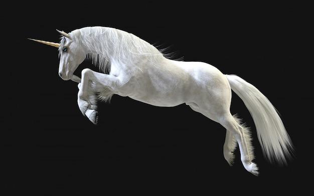 3d-afbeelding mythical white unicorn poseren isoleren op donkere muur met uitknippad.