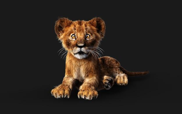 3d-afbeelding portret van little lion cub geïsoleerd op donkere achtergrond met uitknippad.
