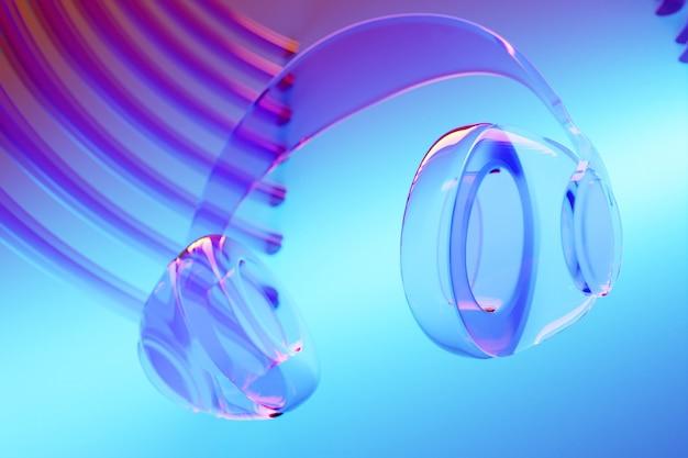 3d-afbeelding realistische glazen draadloze koptelefoon geïsoleerd op blauwe achtergrond onder roze en blauw neonlicht.
