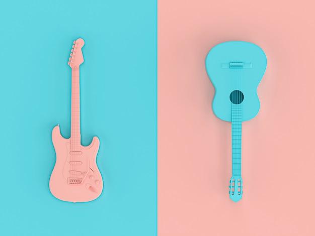 3d-afbeelding renderen in stijl plat leggen van twee elektrische gitaren