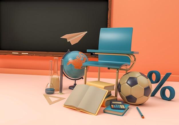 3d-afbeelding. schoolbenodigdheden en artikelen. terug naar school