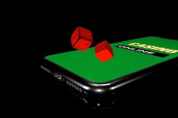 3d-afbeelding. smartphone met dobbelstenen. online casino concept. geïsoleerde zwarte achtergrond.