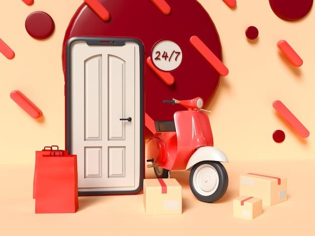 3d-afbeelding. smartphone met een deurtje op het scherm en met een bezorgscooter, dozen en papieren zakken. 24/7 online winkel- en bezorgserviceconcept.