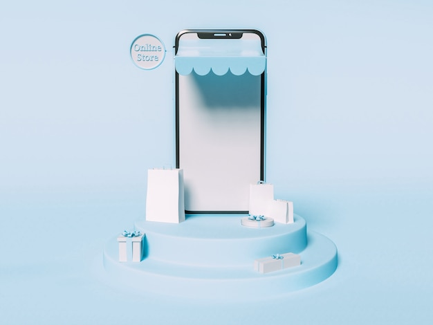 3d-afbeelding. smartphone met papieren zakken en geschenkverpakkingen. online winkelen en e-commerce concept.