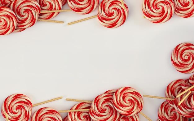 3d-afbeelding snoepjes lollipops abstracte achtergrond met uitknippad