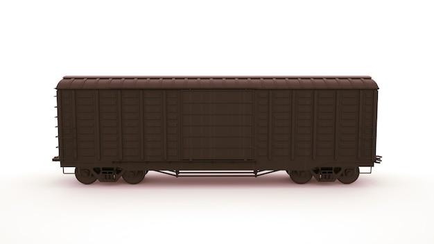 3d-afbeelding treinwagon, logistiek. vervoer van goederen per spoor, locomotief. grafisch ontwerpelement dat op witte achtergrond wordt geïsoleerd.