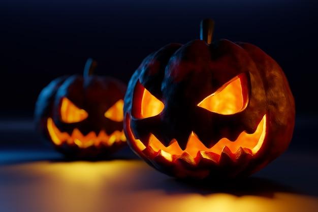 3d-afbeelding twee grote oranje pompoenen met uitgesneden hartstochtelijke ogen en scheve glimlachen gloeien in het donker. het concept van halloween-karakters