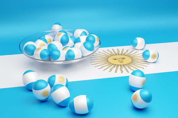 3d-afbeelding van ballen met de afbeelding van de nationale vlag van argentinië