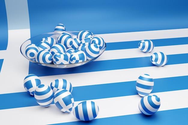 3d-afbeelding van ballen met de afbeelding van de nationale vlag van griekenland