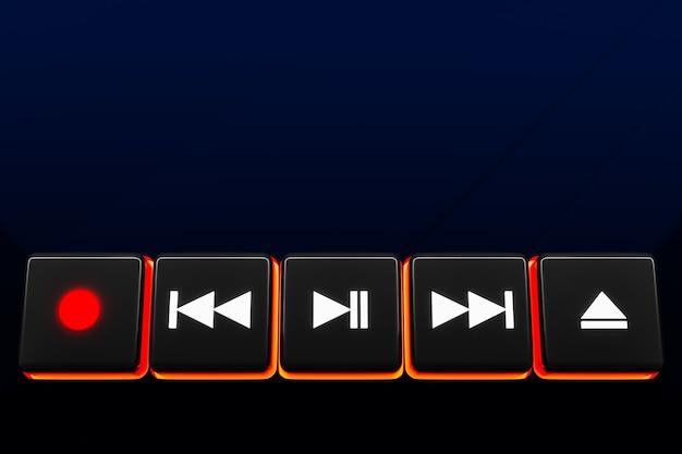 3d-afbeelding van de knop muziekschakelaar: start, volgende en vorige nummer, stop en record op zwarte geïsoleerde achtergrond