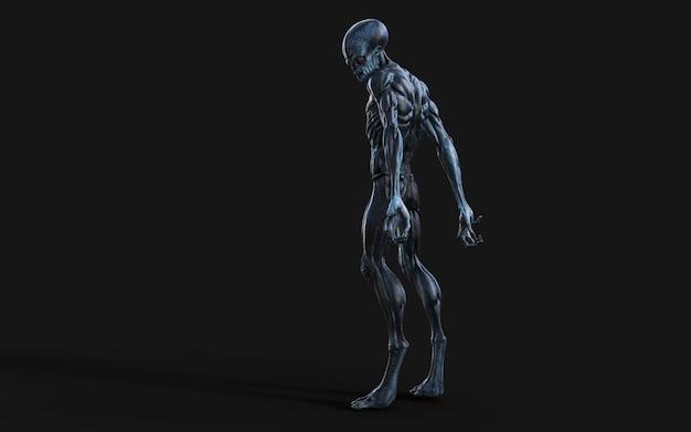 3d-afbeelding van een alien rode ogen op zwart.